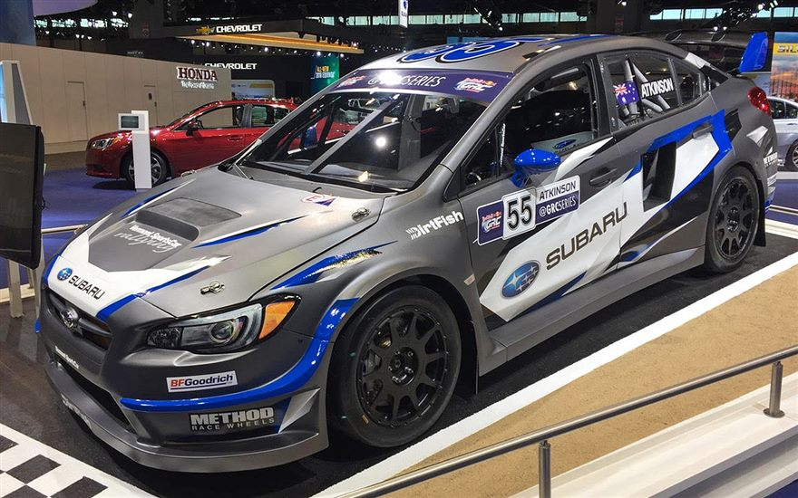 Subaru Rally Team USA Debuts New Livery for Red Bull GRC Driver Chris Atkinson at Chicago Auto Show